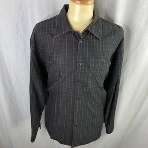 Geoffrey Beene Mens Brown Check XXL LS Shirt EUC
